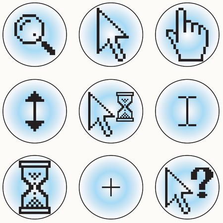 clic: A selection of different cursor designs Stock Photo