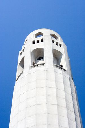 coit: A detailed view of Coit Tower in San Francisco