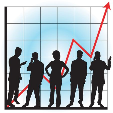 corporate greed: Business graphs showing progress and success, with business people silhouettes