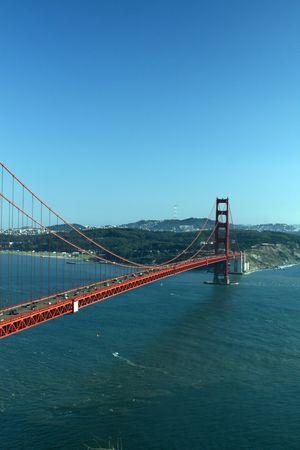 Aerial shot of the Golden Gate Bridge photo