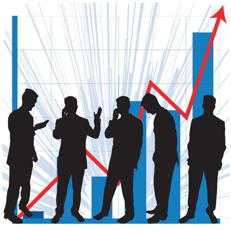 Business graphs showing progress and success, with business people silhouettes