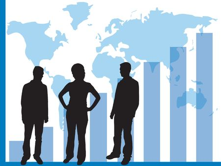 accomplish: Business graphs showing progress and sucess, with business people silhouettes Stock Photo