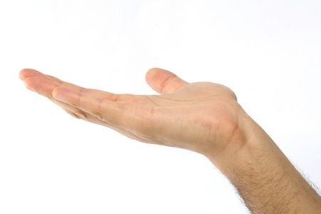 Male holding his hand out over a white background Stock Photo