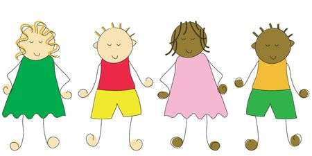 Group of four cartoon children Stock Photo - 816441