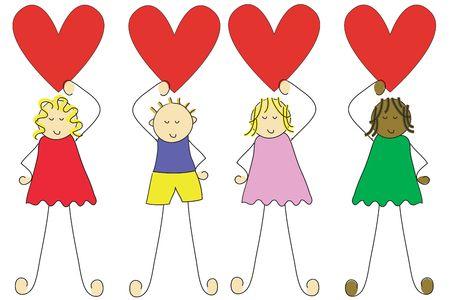 Grupo de cuatro niños de dibujos animados  Foto de archivo - 816442