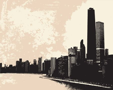 View of Chicago skyline from Lake Michigan