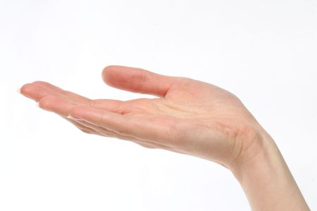 Woman holding her hand out over a white background