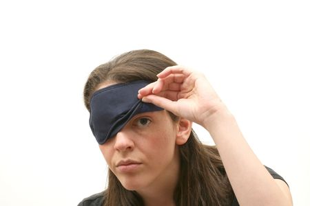 Business woman wearing a blindfold photo