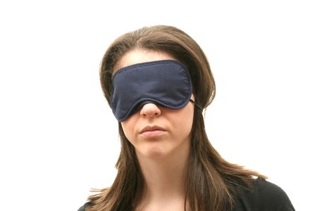 blindfolded: Business woman wearing a blindfold