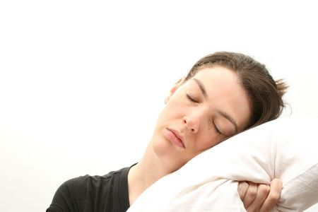 Sleeping business woman over white photo