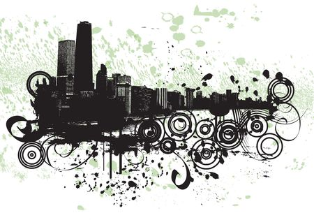 View of Chicago - grunge style
