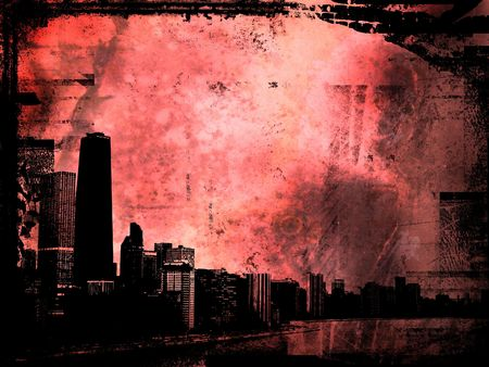 sears: Grunge style background with view of chicago Stock Photo