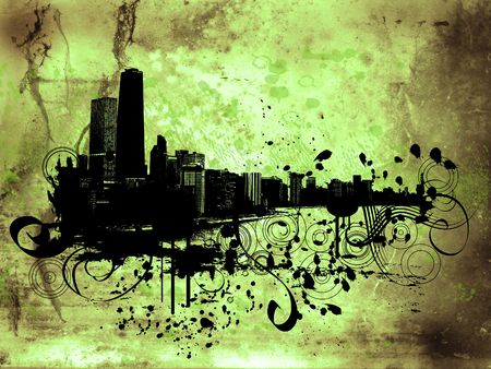 Grunge style background with view of chicago Stock Photo - 930628
