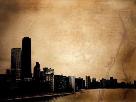 Grunge style background with view of chicago Stock Photo