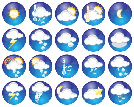 hailstorm: Set of different weather icons Stock Photo