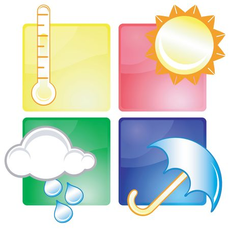 day forecast: Set of different weather icons Stock Photo