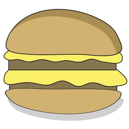 Cartoon style beefburger with a tasty filling photo