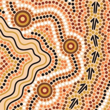 Hand drawn Aboriginal abstract depicting flowing water, kangaroo tracks and waterholes Stock Photo