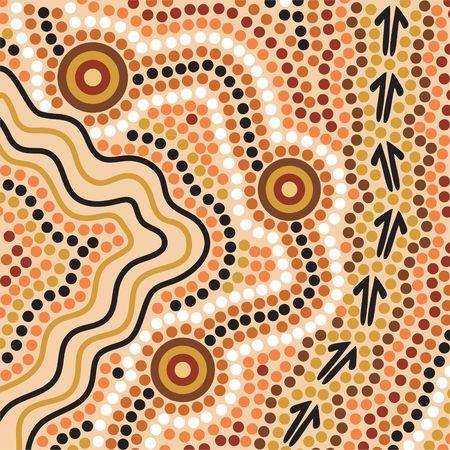 animal track: Hand drawn Aboriginal abstract depicting flowing water, kangaroo tracks and waterholes Stock Photo