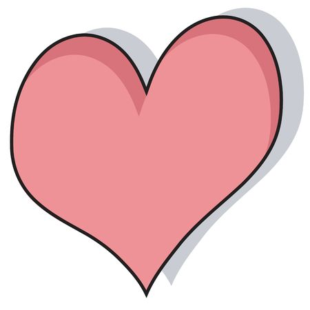 heartily: Cartoon heart with shadow background