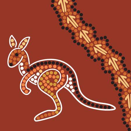aborigen: Dibujados a mano abor�genes resumen y representa a un canguro canguro pistas  Foto de archivo