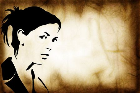 frown: hand drawn silhouette of a woman, grunge style