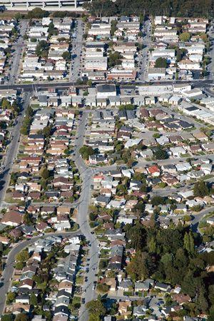 urban sprawl: Aerial view of residential urban sprawl in southern California