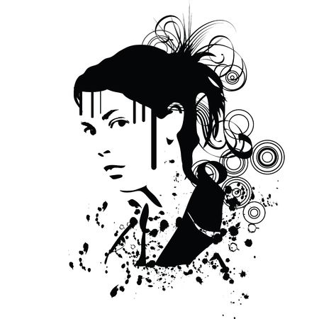 hand drawn silhouette of a woman photo