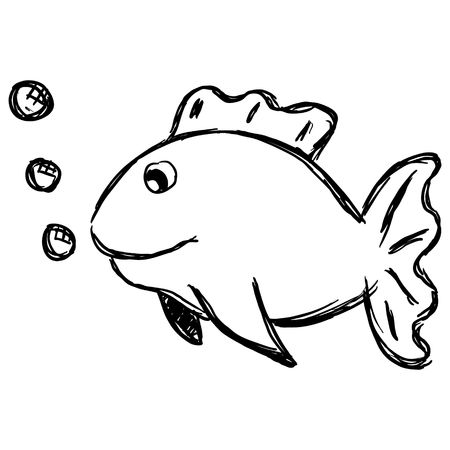 Sketch of a cartoon fish