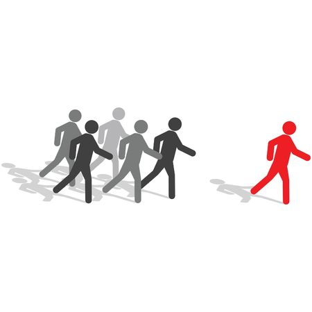 Business Concept - Be different, step out from the crowd Stock Photo - 2734300