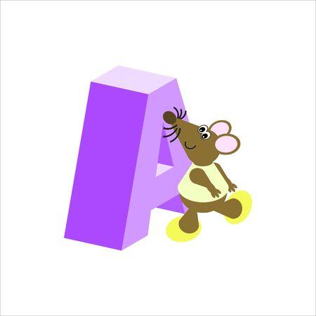 baile caricatura: Feliz Mouse con mayúsculas la letra A