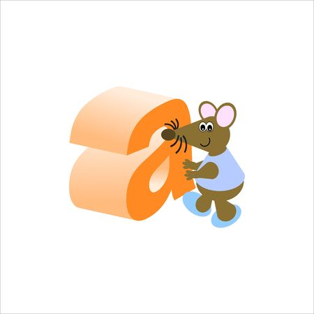 Happy Mouse with lower case letter a Stock Photo - 4998157
