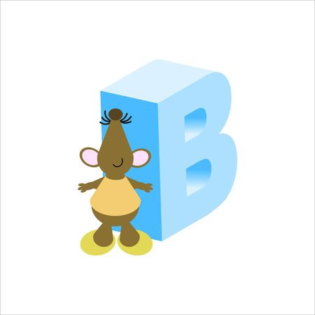 Happy Mouse with upper case letter B
