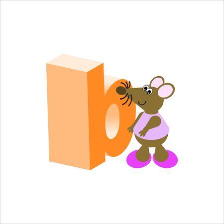 baile caricatura: Feliz Mouse con letra min�scula b Foto de archivo