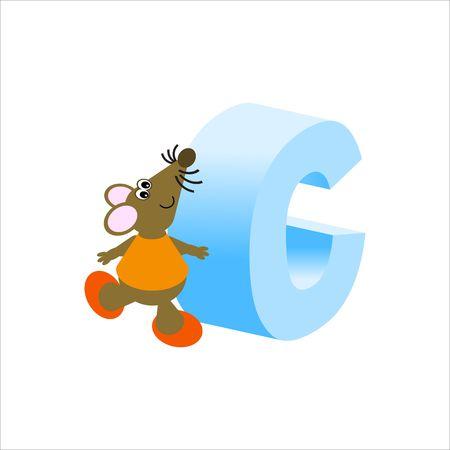 baile caricatura: Feliz Mouse con may�sculas la letra C