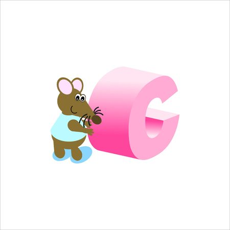 Happy Mouse with lower case letter c Stock Photo - 4998136