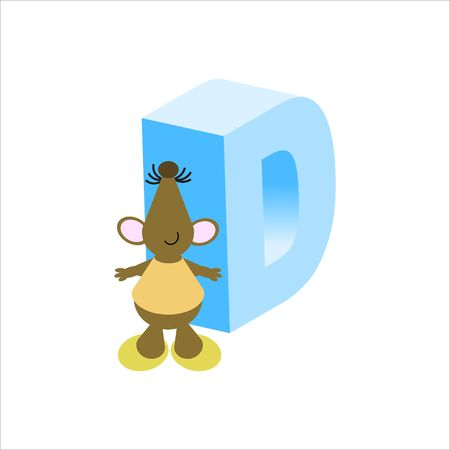 Happy Mouse with upper case letter D