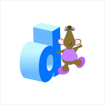 Happy Mouse with lower case letter d photo