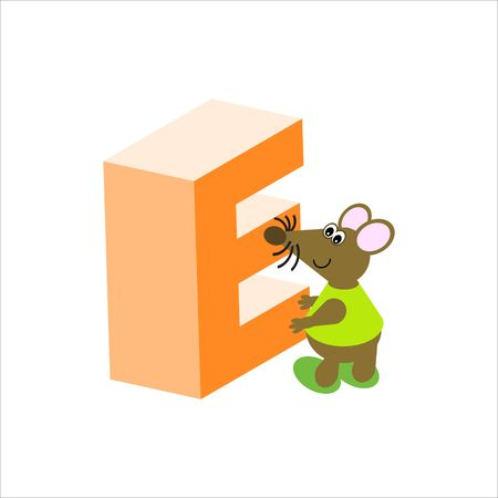 Happy Mouse with upper case letter E Stock Photo