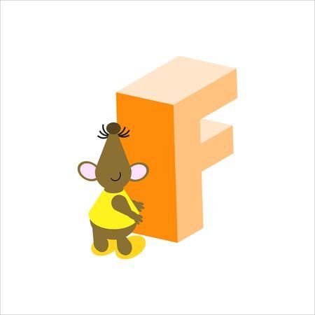 baile caricatura: Feliz Mouse con mayúsculas letra F
