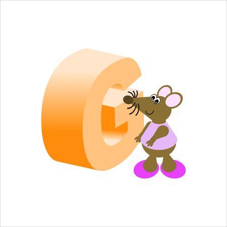 baile caricatura: Feliz Mouse con may�sculas letra G Foto de archivo