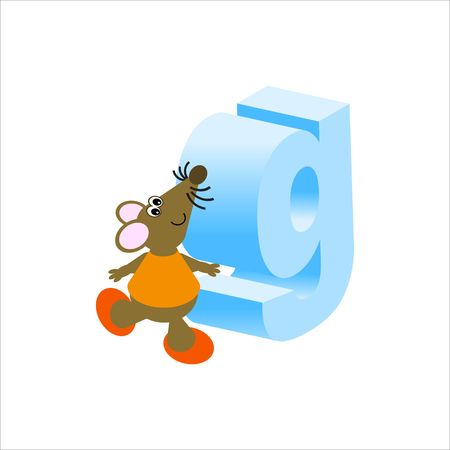 Happy Mouse with lower case letter g Stock Photo - 4998184