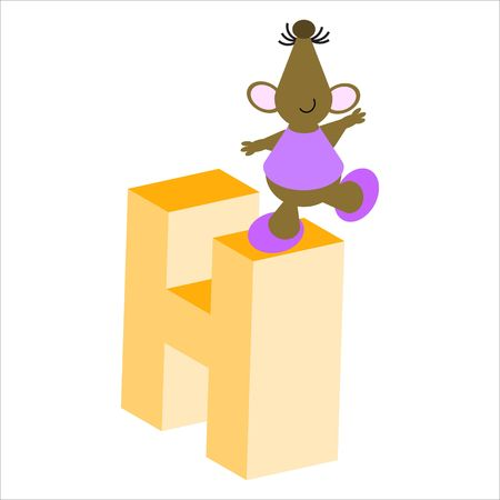 Happy Mouse with upper case letter H Stock Photo