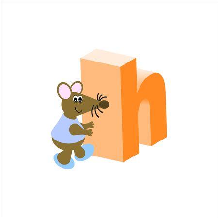 Happy Mouse with lower case letter h Stock Photo