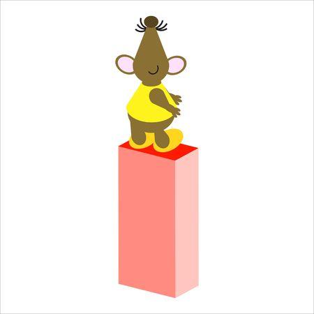 baile caricatura: Rat�n feliz con may�sculas letra I