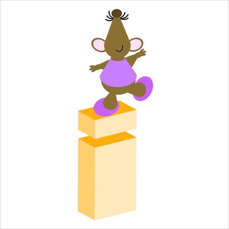 baile caricatura: Feliz Mouse con letra min�scula i Foto de archivo