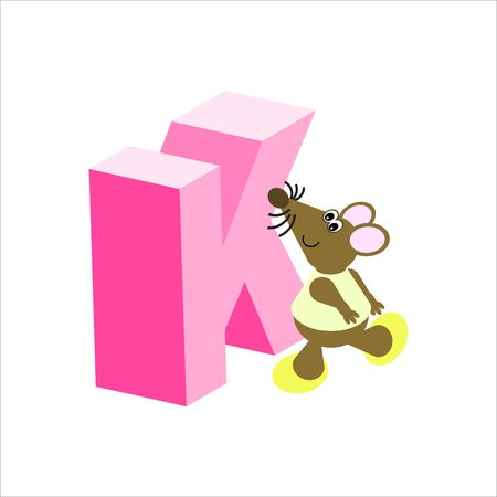 Happy Mouse with upper case letter K Stock Photo - 4998167