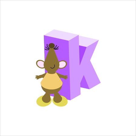 Happy Mouse with lower case letter k Stock Photo - 4998164