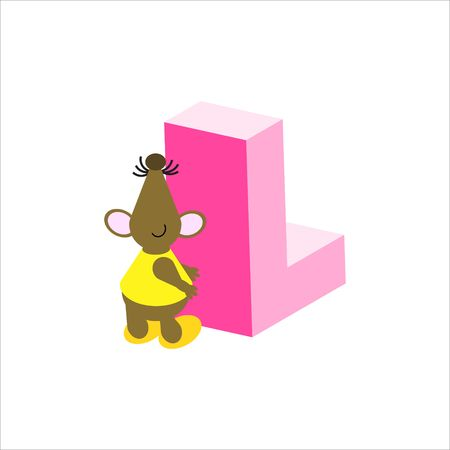 Happy Mouse with upper case letter L photo