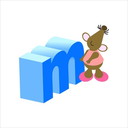 Happy Mouse with lower case letter m